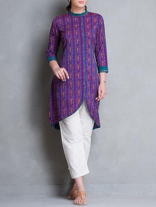 Purple-Teal Asymmetrical Button Down Ikat Cotton Kurta-M
