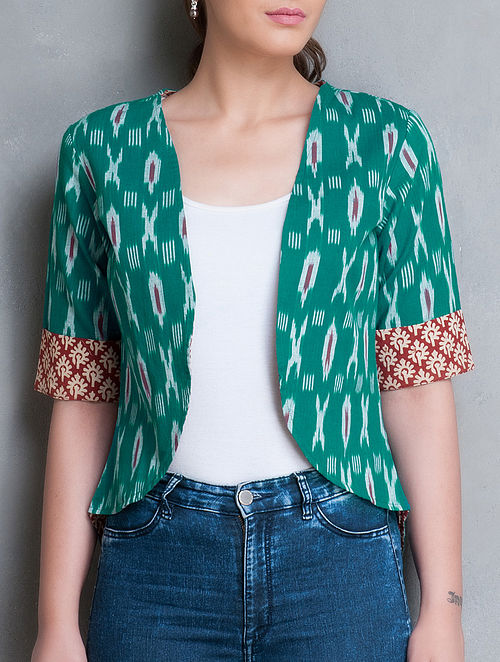 Green-Red Ikat Cotton Shrug-M