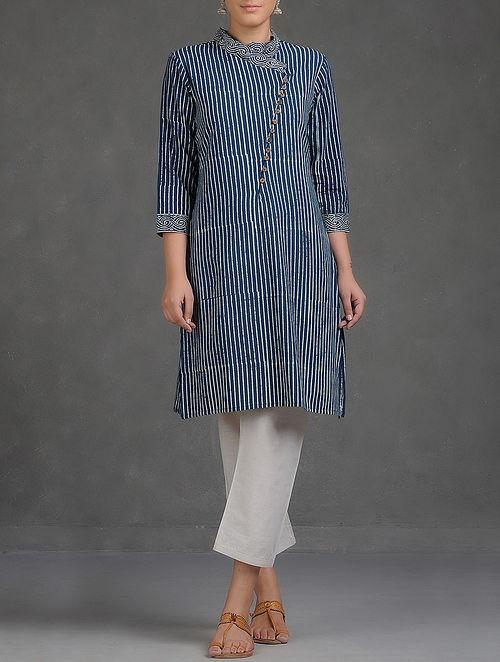 Indigo-White Dabu Printed Cross Over Mandarin Collar Cotton Kurta-L