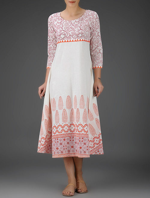 Ivory-Orange Block-Printed Round Neck Cotton Dress - S