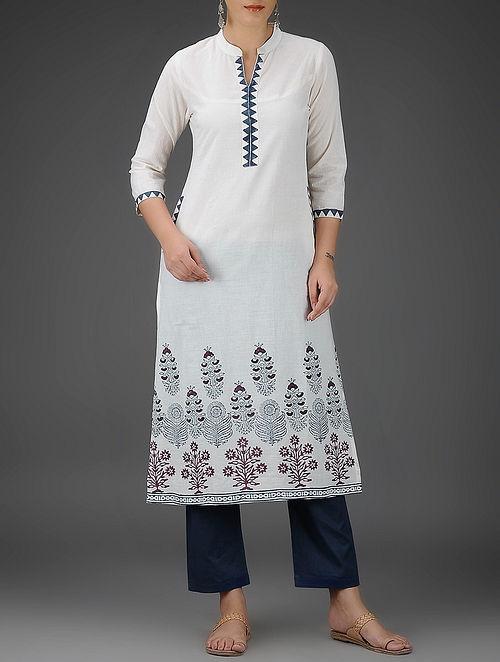 Ivory-Blue Block-Printed Mandarin Collar Cotton Kurta - M