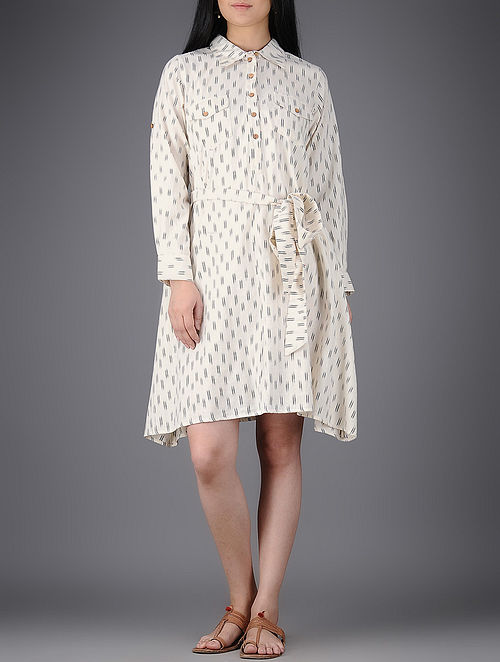 Ivory-Black Collared Ikat Cotton Dress with Belt