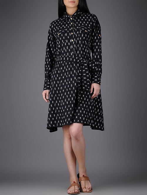 Black-Ivory Collared Ikat Cotton Dress with Belt