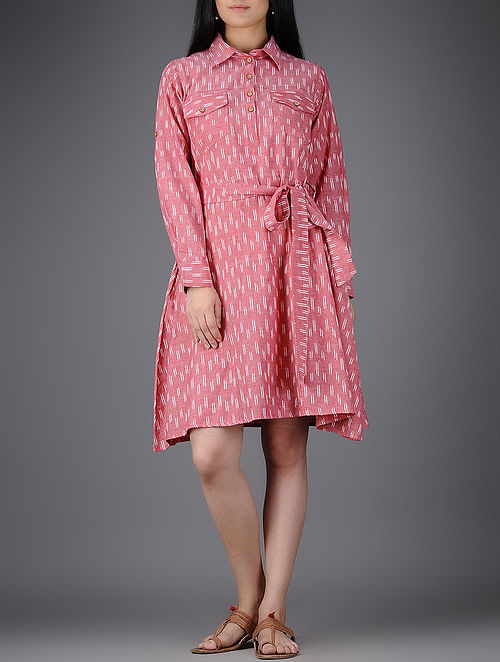 Pink-Ivory Collared Ikat Cotton Dress with Belt-M