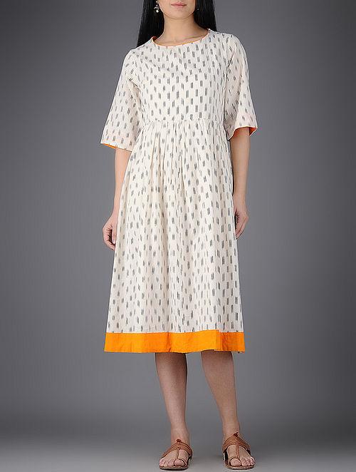 Ivory-Mustard Ikat Cotton Dress with Gathers