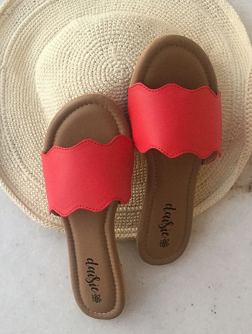 Red Handcrafted Vegan Leather Flats