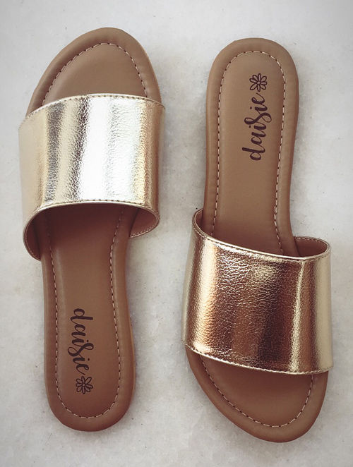Gold Handcrafted Vegan Leather Flats