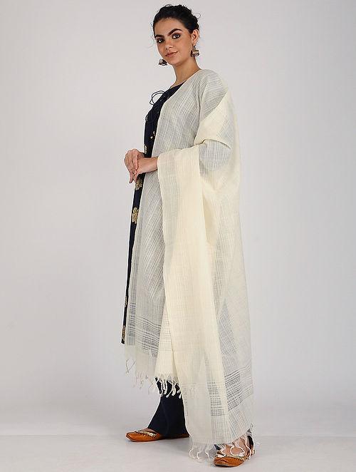 Ivory Handloom Cotton Dupatta