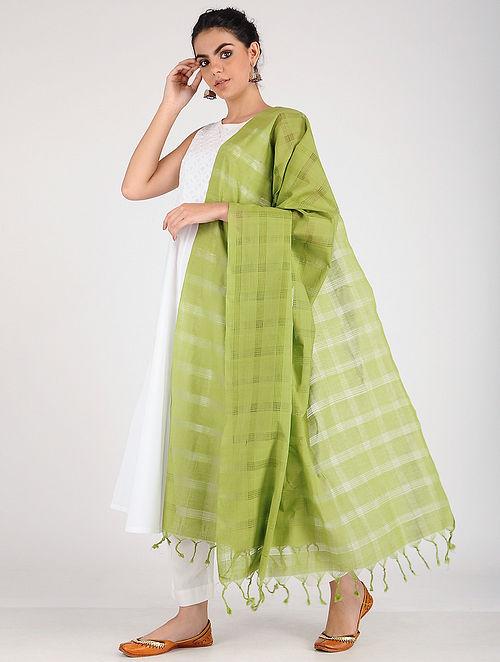 Green Handloom Cotton Dupatta