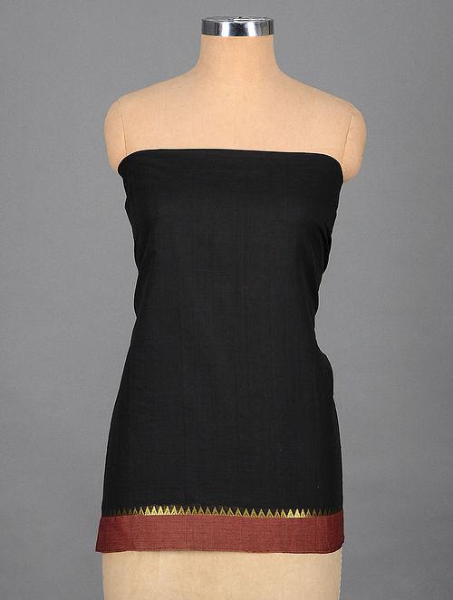 Black-Maroon Handwoven Cotton Blouse Fabric with Zari Border