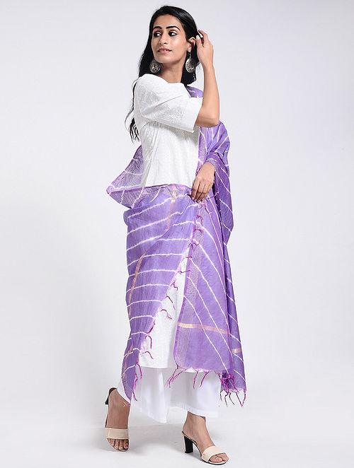 Purple-Ivory Leheriya Chanderi Dupatta with Zari