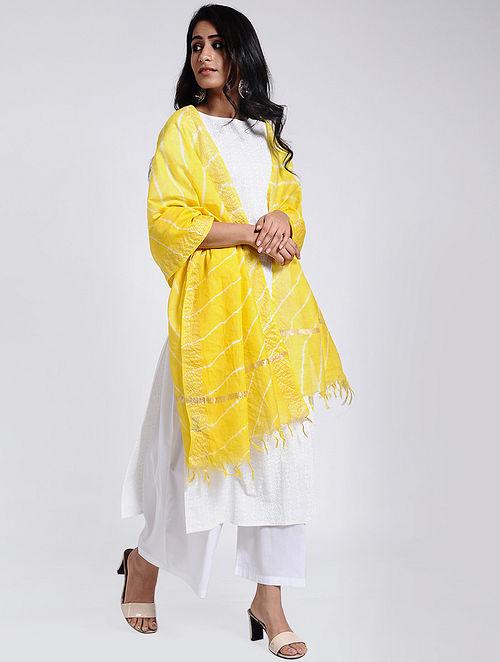 Yellow-Ivory Leheriya Chanderi Dupatta with Zari