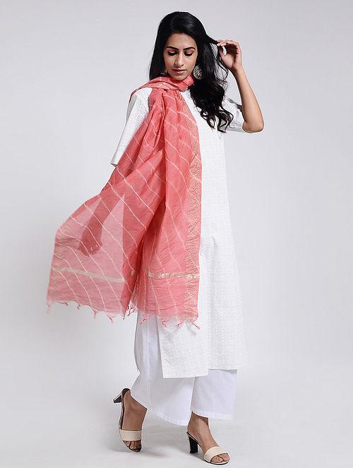Pink-Ivory Leheriya Chanderi Dupatta with Zari