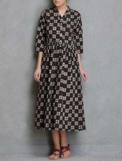Brown Block Printed Cotton Dress