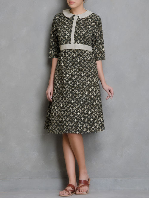 Brown-Ivory Block Printed Cotton Dress