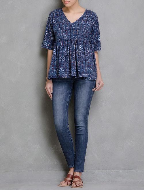 Blue Block Printed Gathered Waist Angrakha Cotton Top-M