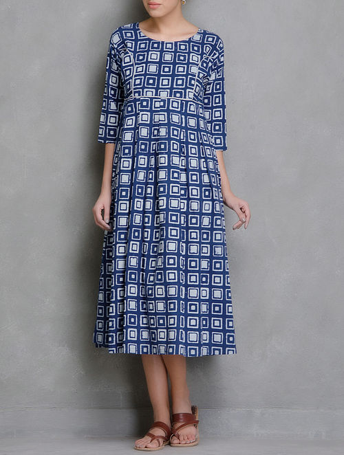 Blue-White Block Printed Cotton Dress