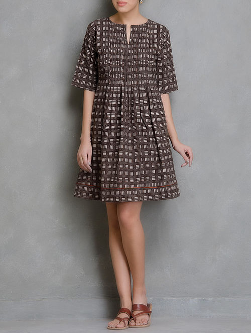 Brown-Ivory Block Printed Pin-Tuck Cotton Dress
