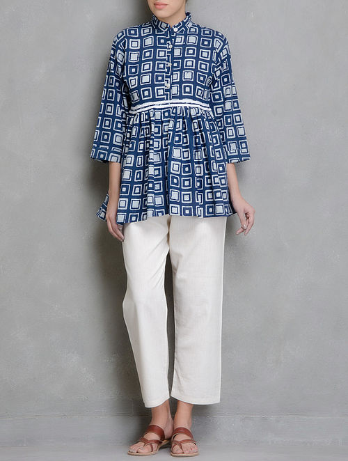 Blue-White Block Printed Cotton Kedia Top