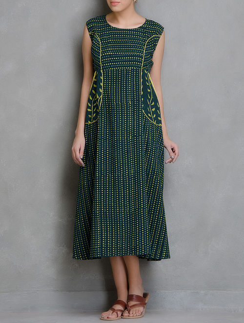 Green-Yellow Block Printed Cotton Dress