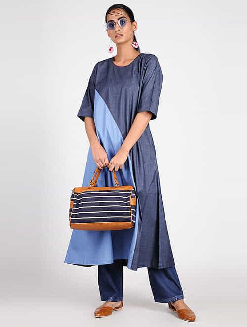 15743f4b15 Buy Blue Cotton Denim Kurta Online at Jaypore.com