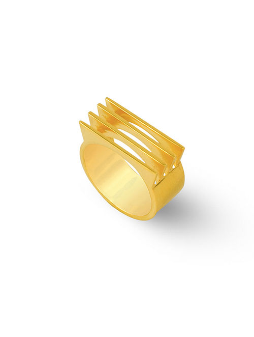 Gold Tone Silver Ring (Ring Size: 15)