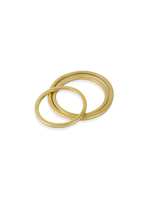 Gold Tone Silver Ring (Set of 3)