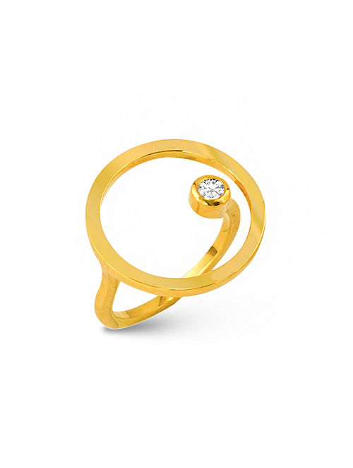 Gold Tone Silver Ring (Ring Size: 17)