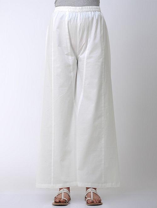 Ivory Elasticated Waist Flared Cotton Palazzos