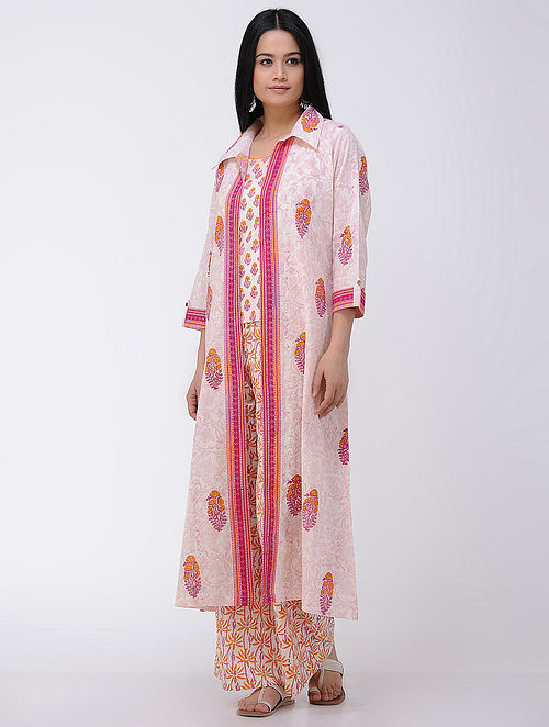a9e59b7701d9cd Buy Ivory-Pink Block-printed Front-open Cotton Jacket with Slip (Set of ...