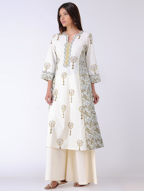 Ivory-Olive Panelled Block-printed Cotton Kurta