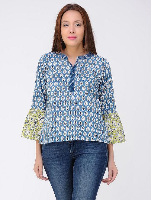 Blue-Ivory Dabu-Printed Cotton Kurta