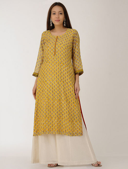 Yellow Block-printed Chanderi Kurta