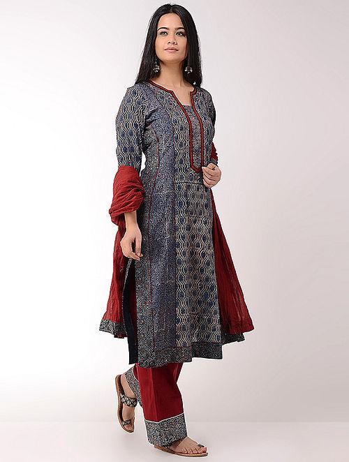 Indigo Ajrakh-printed Cotton Kurta