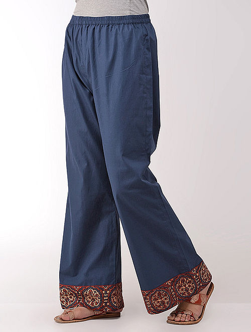 Blue Elasticated Waist Cotton Palazzos with Ajrakh-printed Border