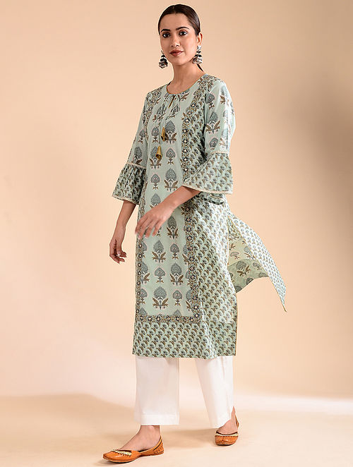 Aqua Block-Printed Cotton Kurta