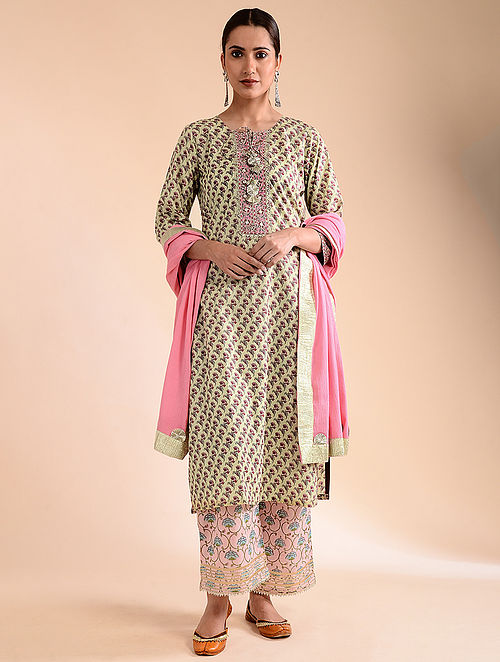 Pista Green Block-Printed Cotton Kurta