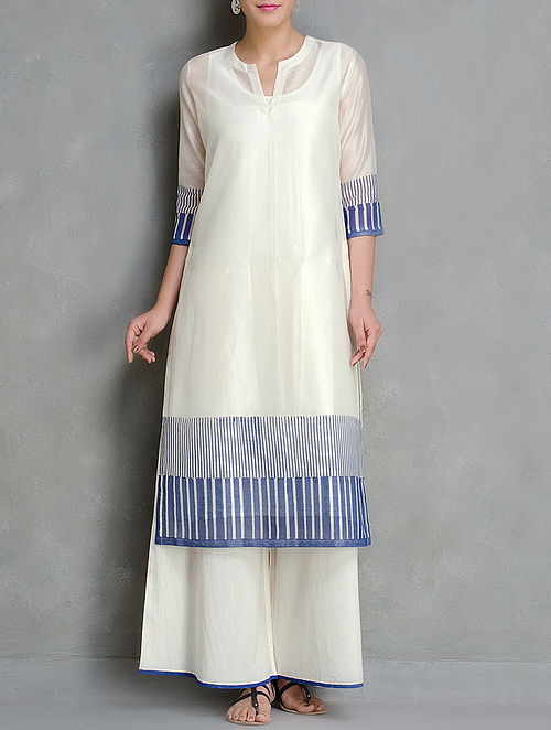 Blue-Ivory Block Printed Chanderi Kurta With Lining Set of 2  by Kora