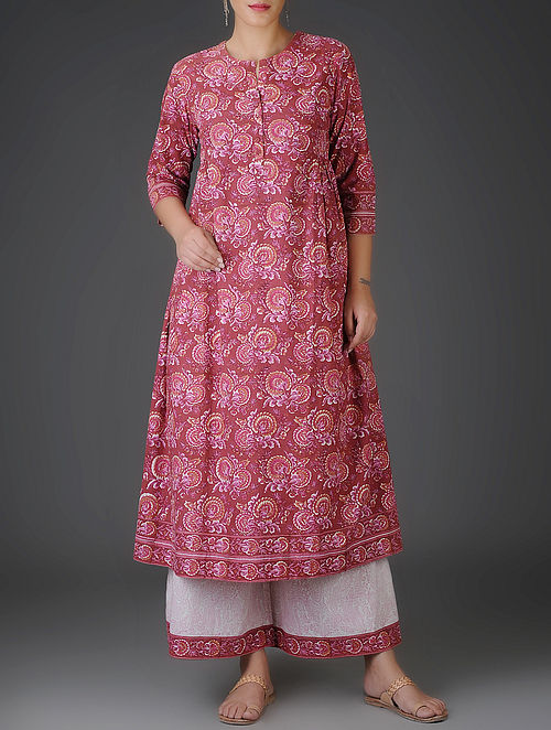 Red-Pink Block-Printed Flared Cotton Kurta with Gathers