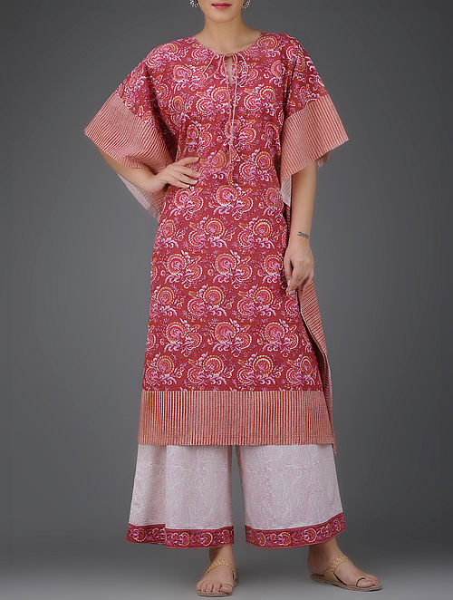 Red-Pink Block-Printed Front Tie-Up Cotton Kaftan