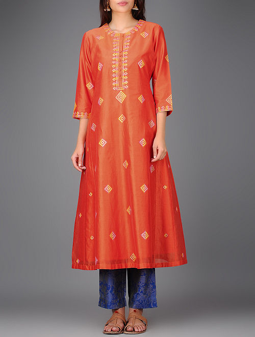 Orange Chanderi Kurta with Gota Work