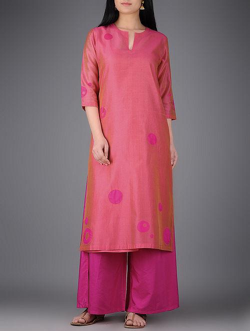 Pink Chanderi Kurta with Silk Patchwork