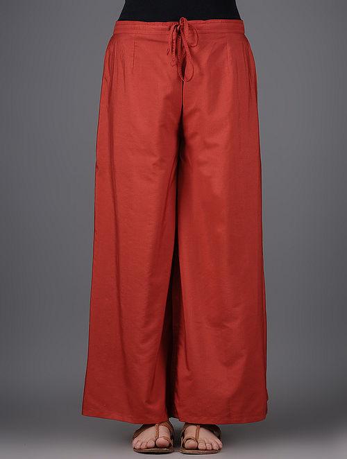 Red Elasticated Tie-up Waist Katan Silk Pants