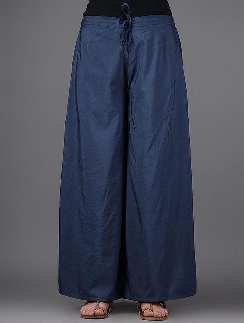 Navy Blue Elasticated Tie-up Waist Katan Silk Pants