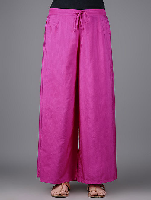 Pink Elasticated Tie-up Waist Katan Silk Pants