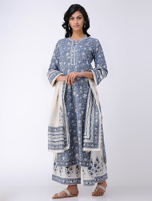 Blue-Ivory Embroidered Block Printed Cotton Voile Kurta with Jaali Work