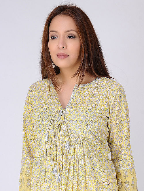 Yellow-Ivory Gathered Block-printed Cotton Voile Kurta with Gota Embroidery