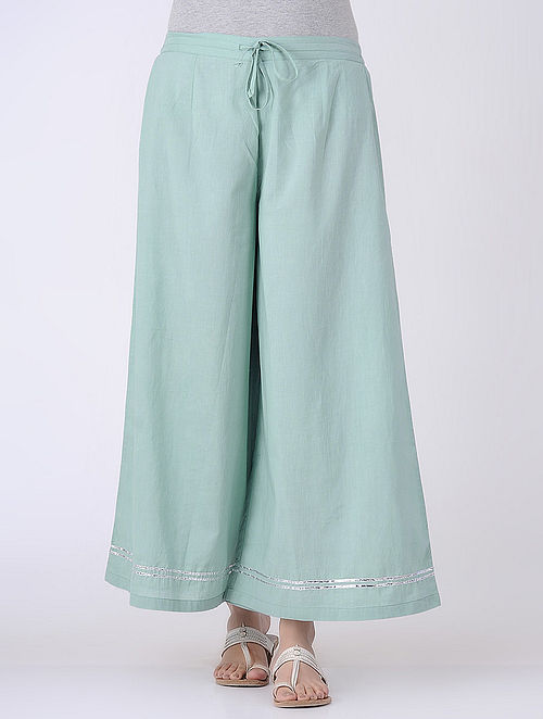 Green Tie-up Elasticated Waist Cambric Palazzos with Gota Embroidery