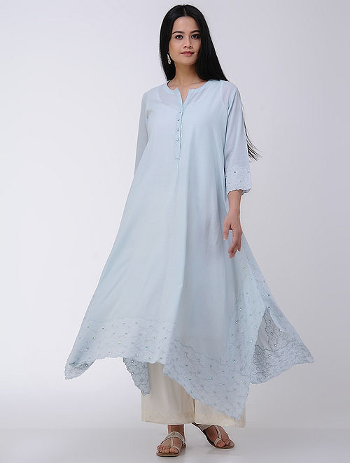Blue Asymmetrical Embroidered Schiffli Cotton Voile Kurta
