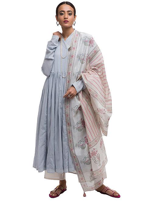 Buy Blue-Pink Block-printed Cotton Angrakha Kurta and Slip with Embroidery  (Set of 2) Online at Jaypore.com c0dac3b63